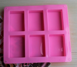 Wholesale Silicone Cake Molds Free Shipping - Cake Decorating Tools free Shipping -various Types of Customized Handmade Soap Molds 6 Even Rectangular Cubes 100ml Silicone Cake Mold Hole
