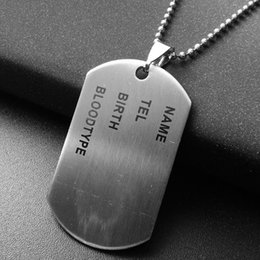 Wholesale Unique Style Necklaces - Unique Designer Stainless Steel Mens Nameplate Military Army Style Dog Tags Chain Mens Pendant Necklace Jewelry Accessories