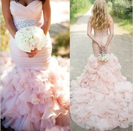 Discount wedding dress crystal sash blush - New Wedding Dresses Mermaid 2017 Pink Sweetheart Ruffle Skirt Stunning Blush Custom Made Wedding Dresses Bridal Gown With Crystal Sash