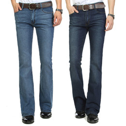 Wholesale Bell Trousers - Wholesale-Male boot cut jeans semi-flared bell bottom black spring and autumn the body trousers