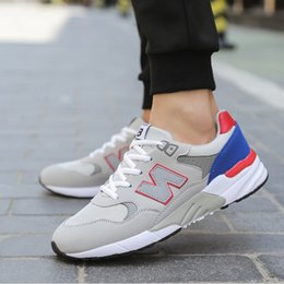Wholesale Summer Net Shoes - 2017 summer breathable lace sports net couple casual running shoes student N word acan shoes men shoes