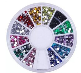 Wholesale Wholesale Nail Art Wheels - In Stock!!! Nail Art Glitter Tip 2mm Rhinestone Deco With Wheel 1200 Pcs set Free Shipping 3000set lot