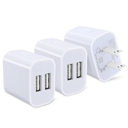 Wholesale Ac Dc Usb Adapters - 2A 5V Universal Color Dual USB Port AC DC Wall Travel Home Charger Power Adapter Plug for HTC, S LG, Galaxy S Series