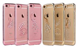 Wholesale Star Mobile Case - For Apple 6 7 Plated TPU Mobile Phone Case Single Row Drill Transparent Soft Shell Protection Set Diamond Star Peacock Swan Shell