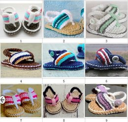 Wholesale Crochet Double Sole Baby Shoes - Crochet baby summer sandals girls first walker shoes newborn infant toddlers kids striped slippers sandals 0-12M double sole thongs cotton
