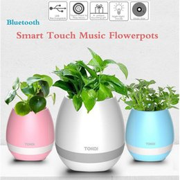 Wholesale Smart Home Audio Wholesale - Smart Bluetooth Speaker Music Flower Pots Touch Wireless Bluetooth Flowerpot Mini Subwoofer Speaker with LED s Home Smart Plant Office