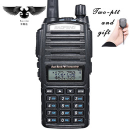 Wholesale Vhf Mic - Wholesale- BAOFENG UV-82 Walkie Talkie Dual Band VHF UHF Portable Two Way Radio CB Radio FM Radio Transceiver With PIN PTT Speaker Mic