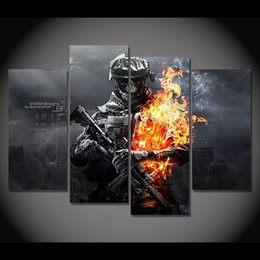 Wholesale Battlefield Poster - 4 Pcs Set Framed HD Printed Battlefield Skull Game Picture Wall Art Canvas Print Decor Poster Canvas Modern Movie Oil Painting