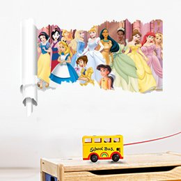 Wholesale Princess Removable Wall Decals - Wholesale Snow White Wall Stickers Waterproof Girls Princess Room Décor Wall Decals Poster Decor Art Kids Nursery Wallpaper