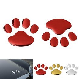 Wholesale Paw Car Sticker Decal - 3D PVC Auto Car Sticker and Decals Dog Paw Footprint Nick Cover Sticker Car Styling Decoration CEA_30D