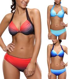 Wholesale Colorful Women Suits - 2017 Hot Summer Sexy Women Colorful Bikini Set Rainbow Swimsuit Beach Wear Gradient Color Push Up Swimwear Halter Bathing suits