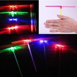 Wholesale Plastic Bamboo Dragonfly - Wholesale-Light up Plastic glowing Bamboo Dragonfly Flying Saucer Disc Disk Sets Children Traditional Toy 10pcs kids toy funny gadgets
