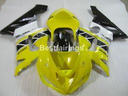 Wholesale Yellow Zx6r Fairing - ABS plastic fairing kit for Kawasaki Ninja ZX6R 05 06 yellow black fairings set ZX6R 2005 2006 ZM18