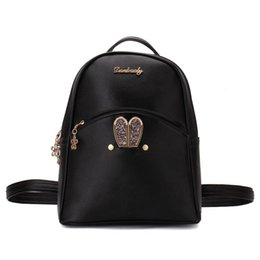 Wholesale Custom School Backpacks - Backpacks Women Custom Stylish cartoon Bags Bunny Kid's School Bag For Boys Girls Black Leather Backpack for Girls Schoolbag