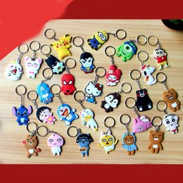 Wholesale Men Marine Ring - 29 Models Silica gel Phone Accessories Cartoon Rings Trinket Soft PVC Keychain Minions Marines Key Holder Key Chains Finder Souvenirs Gift