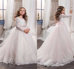 Wholesale Girls Sweetheart Dressed - 2017 New Blush Pink Lace Flower Girl Dresses For Weddings Long Sleeves Ball Gown Long First Communion Dress Child Party Formal Wear Gowns