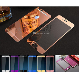 Wholesale Mirror Packaging - For Iphone 7 Colorful Screen Protector Tempered Glass Iphone 6S Color Plating Mirror colorful front and back Glass Film With Retail Package