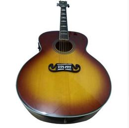 Guitarra acústica faz on-line-OEM handcrafted guitarra, classica 43 polegada Tabacco sunburst cor jumbo guitarra acústica, made in China, frete grátis