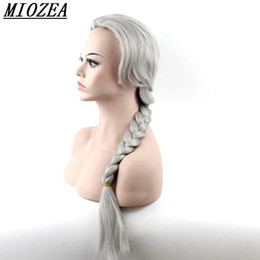 Wholesale Long Pony Tails Wigs - Hair Silver Gray Hand Knitting pony tail wig Synthetic Hair Long Straight Wig Heat Resistant Fiber 24inch