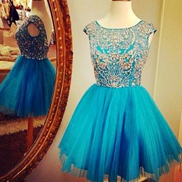 Wholesale Low Back Short Cocktail Dresses - Shinning Short Homecoming Teens Dresses Scoop Cap Sleeves Beads Crystals Please Formal Party Cocktail Gowns Low Back Sexy Prom Dress