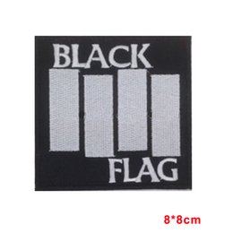 Wholesale Band Logos - BLACK FLAG Sew Iron On Patch Embroidered Heavy Metal Rock Band Music Logo