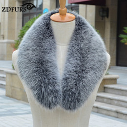 Wholesale Real Fox Fur Scarf Collar - Wholesale- ZDFURS * Real fox Fur Collar Scarf Womens Shawl Wraps Shrug Neck Warmer Stole Wholesale Hot sale Ring Scarf Womens ZDC-163003