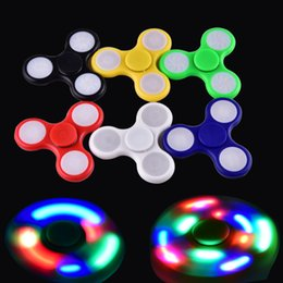 Wholesale Wholesale Tip Up Lights - newest LED Light Up Hand Spinners Fidget Spinner Top Quality Triangle Finger Spinning Colorful Decompression Fingers Tip Tops Toys OTH384