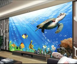 woods country decor Coupons - 3d room wallpaper custom photo mural Sea World Fish Turtle background decor painting 3d wall murals wall paper for walls 3 d living room