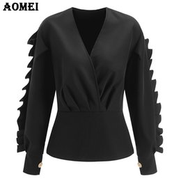 Wholesale Fancy Tops - Long Sleeve Black Peplum Tops Blouse for Women Fancy Ruffles Frills Sexy Plus Size V Neck Autumn Fashion Lady Wear to Work Shirt