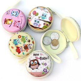 Wholesale Owl Headphones - Wholesale- Cartoon owl tinplate coin wallet round Japan and South Korea bags lightweight compression headset package Store headphones coins