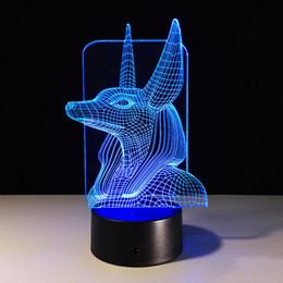 Wholesale Led Light Dropshipping - Pharaoh's guard 3D Optical Illusion Lamp Night Light DC 5V USB Charging AA Battery Dropshipping Free Shipping
