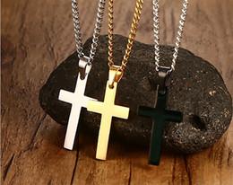 Wholesale Cross Couple Necklaces - 2017 New Fshion 316L Titanium Stainless Steel Cross Pendant Necklace for Man Women Couple Jesus Cross Necklaces & Pendants Men  Women Gifts