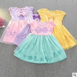 Wholesale Dress Shell Pink - Cartoon Dress Beauty and the Beast Belle Princess Dress Girl Cartoon Grenadine Bowknot Dresses Baby Cotton Mermaid Shell Floral Lace Dress