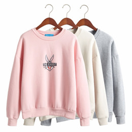 Wholesale Women Clothes Bunnies - 2016 fall winter clothes korean sweatshirts women sweet wild Bugs Bunny cartoon printing thick fleece sweatshirt women harajuku