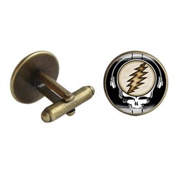 Wholesale Manning Materials Gifts - Cufflinks Men French Grateful Dead Glass Cabochon Musical cuff link Copper material Men Charm Jewelry Gift Wholesale