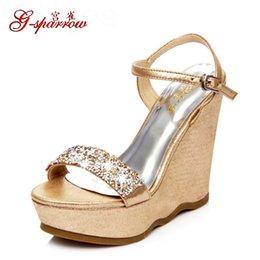 Wholesale Nude Rhinestone Shoes - Women's Summer Fashion High Platform Wedges Small Size Shoes Online Elegant Rhinestone Sandals On Sale High Quality M97