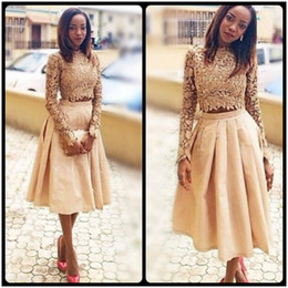 Wholesale Tea Length Skirt Top - Gold Two Pieces Prom Dresses Lace Long Sleeves Top And Satin Skirts Evening Gown Tea Length Black Girl Formal Party Dress Cheap