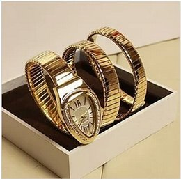 Wholesale Rose Gold Diamond Watch Women - NEW! 2017 snake watch lady fashion watch with diamond rose gold women rhinestone watches dress bracelet quartz luxury brand