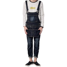 Wholesale men s button suspenders - Wholesale-Men's fashion pocket dark blue denim bib overalls Male casual slim suspenders jumpsuits Jeans
