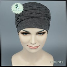 Wholesale Turban Head Wrap Women - Super soft stretchy bamboo jersey Heather gray Turban Headband Head Wrap Sleep Hat Chemo Bandana Hijab