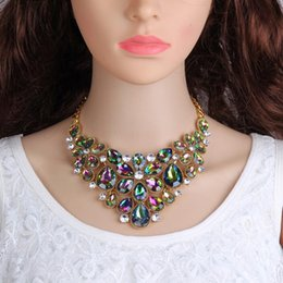 Wholesale Rainbow Chokers - Rainbow AB Colorful Crystal Rhinestones Flower Choker Necklace for Women Summer Wedding Sexy Maxi Jewelry Bohemian Collier