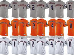 Wholesale George T Shirt - Houston Astros 2017 MLB T-Shirt Mens Youth 1 Carlos Correa 2 Alex Bregman 4 George Springer 11 Evan Gattis Custom Baseball Jersey