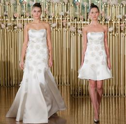 Wholesale Dress Semi Sexy - 3D floras appliques beaded empire wedding dresses 2018 francesca miranda bridal strapless semi sweetheart A-line satin wedding gowns
