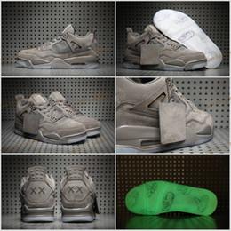 Wholesale Transparent Lace Fabric - Retro 4 Grey Suede KAWS x Mens Basketball Shoes retro 4 Cool Gray Jumpman luminous transparent Sneakers Sports shoes Size 8-13