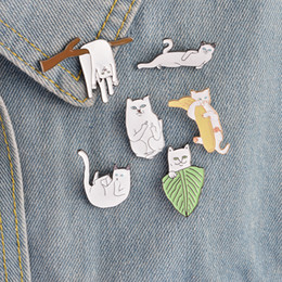 Wholesale Children Wedding Jewelry - Cartoon Funny Cats With Banana On Branch Design Brooch Pins Badge Pinback Button Corsage Men Women Child Jewelry