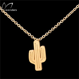 Wholesale Cactus Pendant - Wholesale-DIANSHANGKAITUOZHE Gold Plated Bijoux Tattoo Choker Silver Chain Ketting Cactus Necklaces Women Stainless Steel Christmas Gift