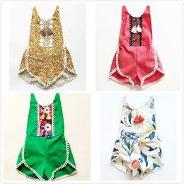 Wholesale Girls Red Lace Romper - Baby floral bodysuit Tassel Romper INS kids Tassel Romper Summer toddler Printed onesie Cute Lace Children Jumpsuit JC48