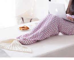 Wholesale Queen Blanket Soft - 3Size Colorful Mermaid Tail Blanket Knitted blanket Adult baby Knit Cashmere TV Sofa Air Condition Blanket Super Soft Sleeping Bag Reading