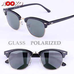 Wholesale Mix Masters - AOOKO Sunglasses Glass Polarized Sunglasses New Hinges Master Men Sun Glasses Women Semi Rimless Retro UV Protection Sunglass 51mm 49mm