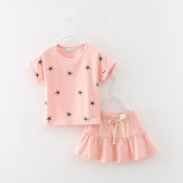 Wholesale Cute Sweet Boys - Wholesale- New Summer fashion baby girls cute cotton printed star clothing suit short-sleeved sweet skirt 2pcs clothes set free shipping